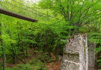 Suspension bridge over Rastenbach gorge at Lake Caldaro, South Tyrol