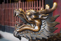 Golden color dragon head scultpure