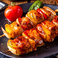 original hungarian shashlik with onion and paprika