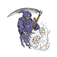 Grim Reaper Throwing the Dice Drawing Color