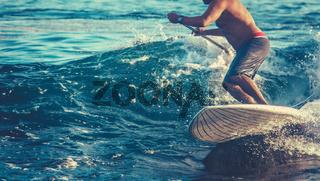Retro Action Shot Of Surfer