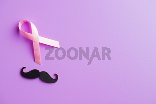 Pink breast cancer ribbon and mustache. Breast cancer and prostate symbol.
