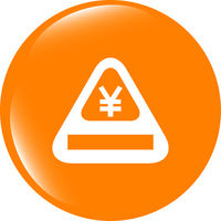 Attention caution sign icon with yen sign. warning symbol. modern ui website button
