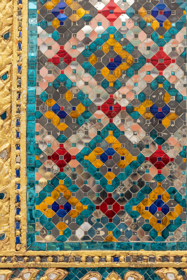 Detail of colourful Wat Phra Kaew mosaic