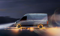 Fast delivery van with burning tires