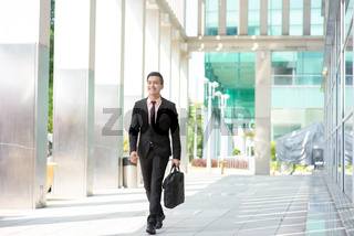 Businessman with suitcase walking.