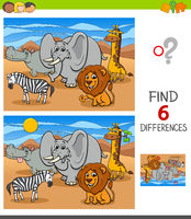 differences game with African animal characters