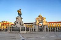 Lisbon Portugal city skyline at Arco da Rua Augusta and Commerce Square