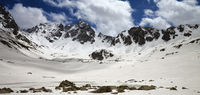 Panoramic view on plateau in mountains with frozen lake covered snow