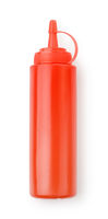 Red plastic ketchup sauce bottle