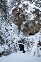 Winter in Johnston Canyon in Banff National Park, Alberta