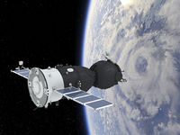 Spacecraft Soyuz Orbiting Earth