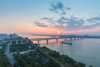 jiujiang yangtze river bridge at dusk