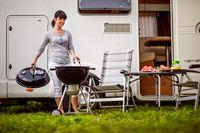 Family vacation travel RV, holiday trip in motorhome, Caravan car Vacation.