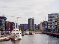 View at Sandtorhafen, Sandtorhaven, from Gandhi Bridge in Hafencity Hamburg.