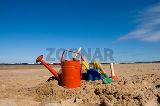 Beach toys in the sandy beach
