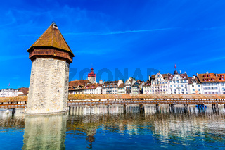 Kapellbrucke historic Chapel Bridge and waterfront landmarks in Lucerne, Switzerland
