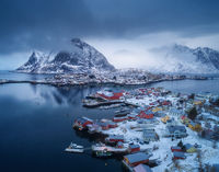 Aerial view of Reine in overcast day in winter in Lofoten islands