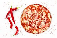 Pizza salami with red pepper on white