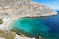 The beach Glaroi in Chios, Greece
