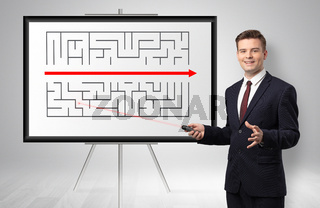 Businessman presenting potential exit from a labyrinth