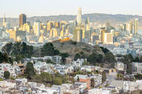 Sunset over San Francisco from Tank Hill in Cole Valley - Twin Peaks.