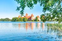 Trakai castle on island lake