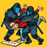 Police detain a protester, the violence against the opposition
