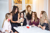 Six girls at the table