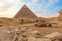 Ruins of ancient Giza and the Pyramid of Chephren, Egypt