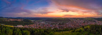 Beautiful mountain sunset scenery with a german town in Baden Würtemberg called Albstadt.