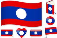 Laos. Laosian flag wave, book, circle, pin, button, heart and sticker.