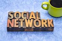 social network words in wood type