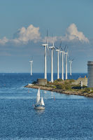 Offshore wind turbines park in Copenhagen - Wind is an highly-available resource in northern Europe,