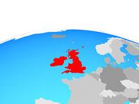 Map of British Isles on globe