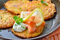 Patato pancakes with salmon