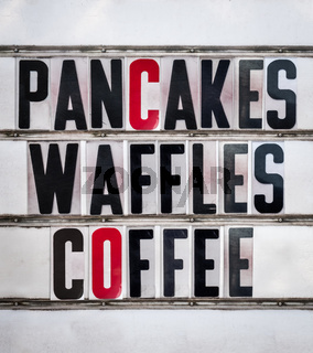 Retro Pancakes Diner Sign