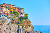 Italian town on the rock by the sea