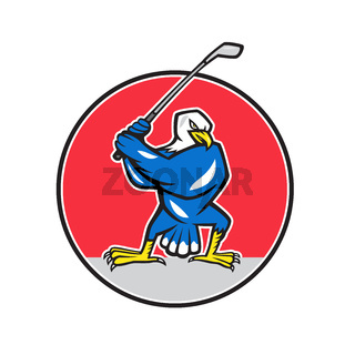 Blue Eagle Teeing Off Circle Cartoon