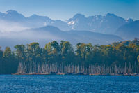 Luzern lake and Swiss Alps landscape view
