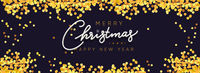 Merry Christmas and Happy New Year horizontal background with golden glitter. Christmas banner, poster, header for web site. Black Xmas backdrop, vector illustration
