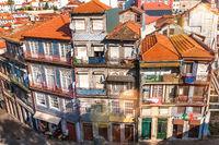 Houses ensemble in the old town Ribeira of Porto
