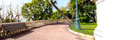 Monaco street empty park with bench empty path panorama