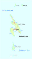 Map of the Thai archipelago of the Phi Phi islands