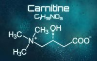 Chemical formula of Carnitine on a futuristic background