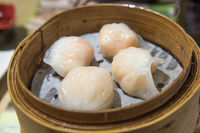 Dim Sum, traditional Cantonese dumplings, cooked in bamboo steamer