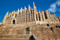 Exterior of Cathedral La Seu in the Palma de Mallorca, Spain