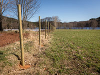 New wooden fence posts on a field. Landscape and blue sky in the background.