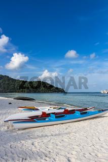 Two empty kayaks at Sao Beach in Phu Quoc, Vietnam