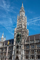 The New City Hall at the Marienplatz in Munich with a blue sky